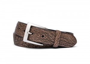 Safari Tan Buffed Shark Belt with Brushed Nickel Buckle