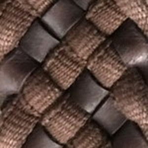 Brown Leather Cloth Braid Belt with Brushed Nickel Buckle