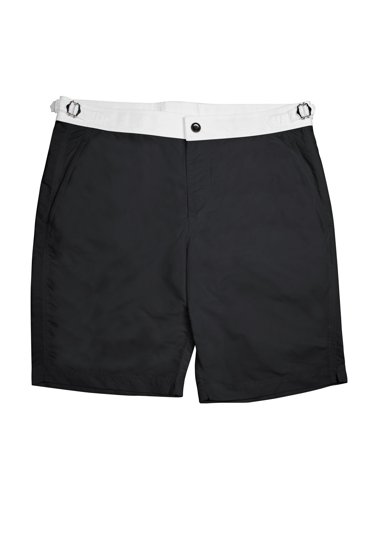 Black Swim Shorts w White Waistband