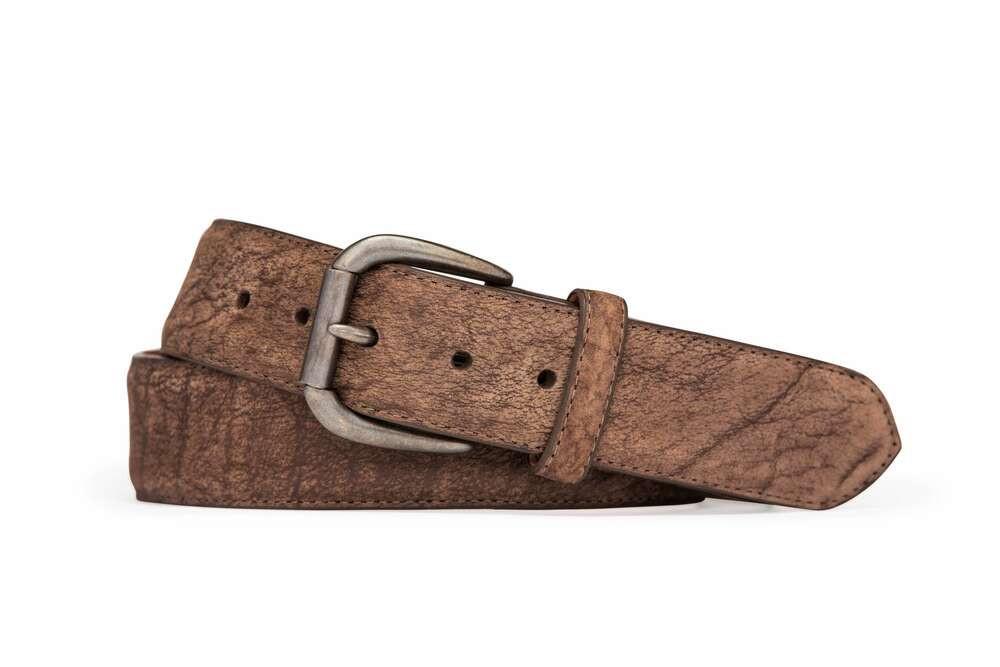 Mocha Navajo Bison Belt with Roller Buckle