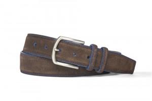 Chocolate Blue Detail Suede Belt with Nickel Buckle