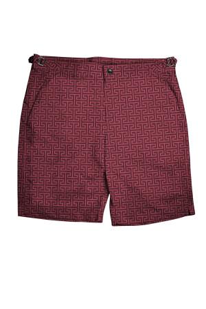 Burgundy H-Print Swim Shorts