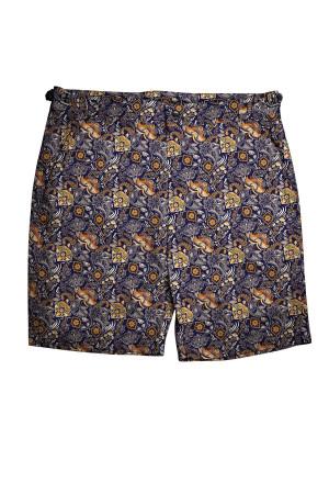 Navy, Orange and Tan Paisley Swim Shorts