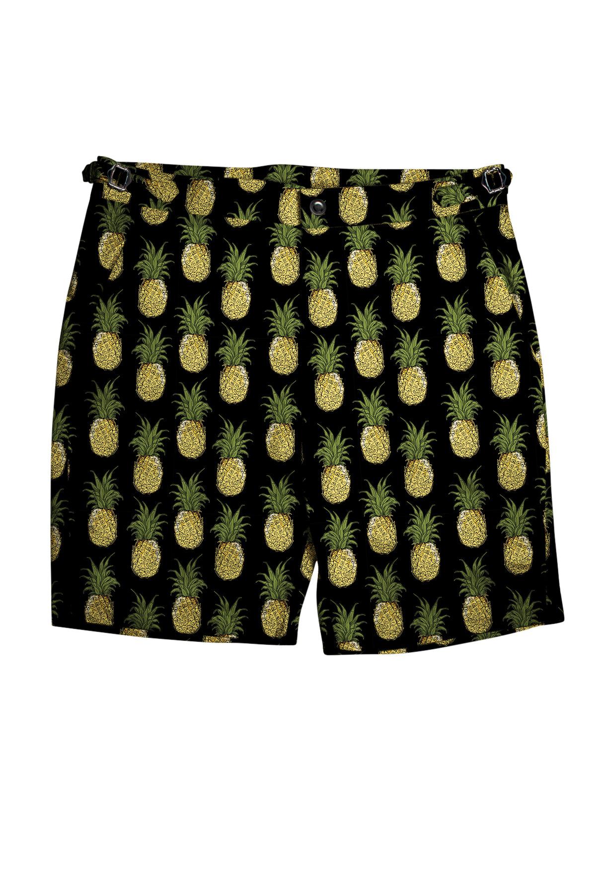 Black with Yellow Pineapples Swim Shorts