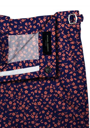 Blue with Orange and White Flowers Swim Shorts