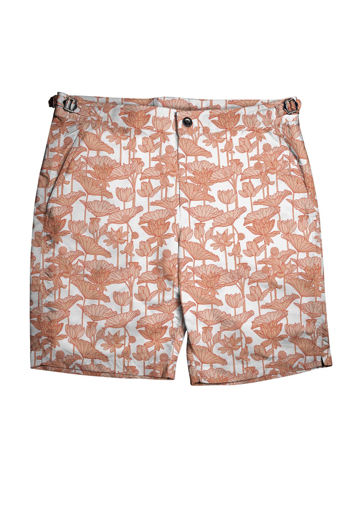 White with Orange Flowers Swim Shorts