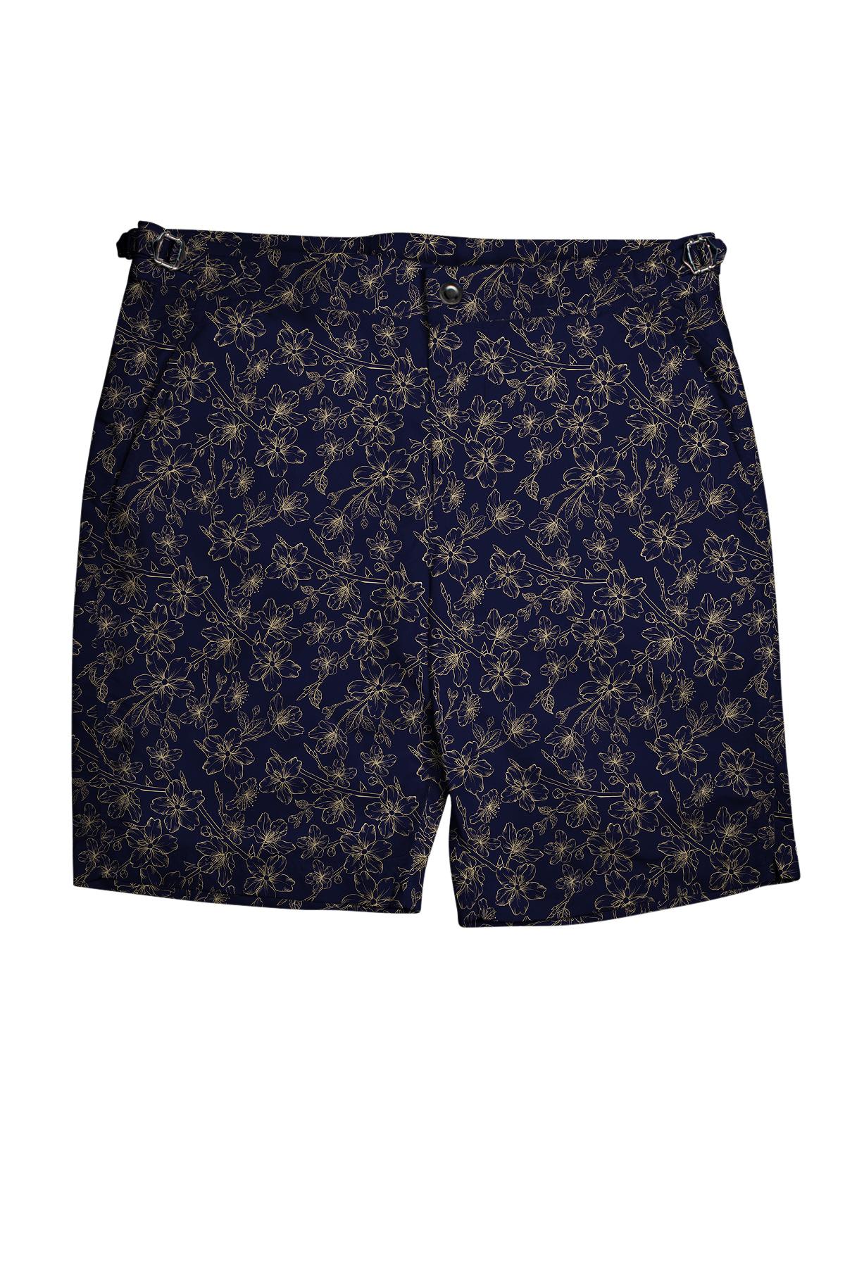 Navy with Tonal Gold Flowers Swim Shorts