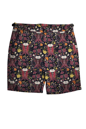 Navy with Burgundy Orchids Swim Shorts