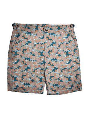 Navy with Salmon Small Flowers Swim Shorts