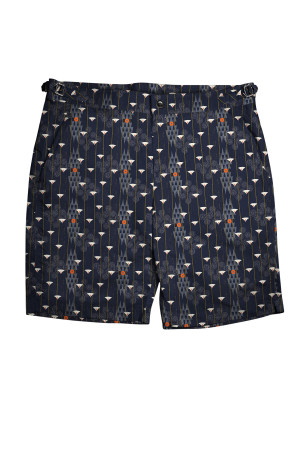 Navy Art Deco Motif Swim Shorts