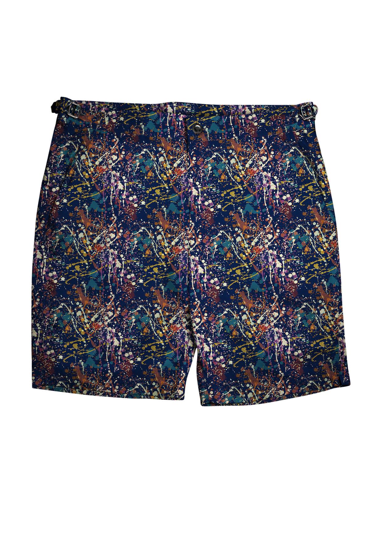 Navy Paint Splatters Swim Shorts