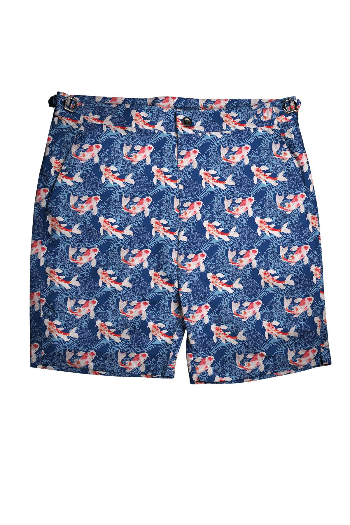 Blue & Red Koi Fish Swim Shorts