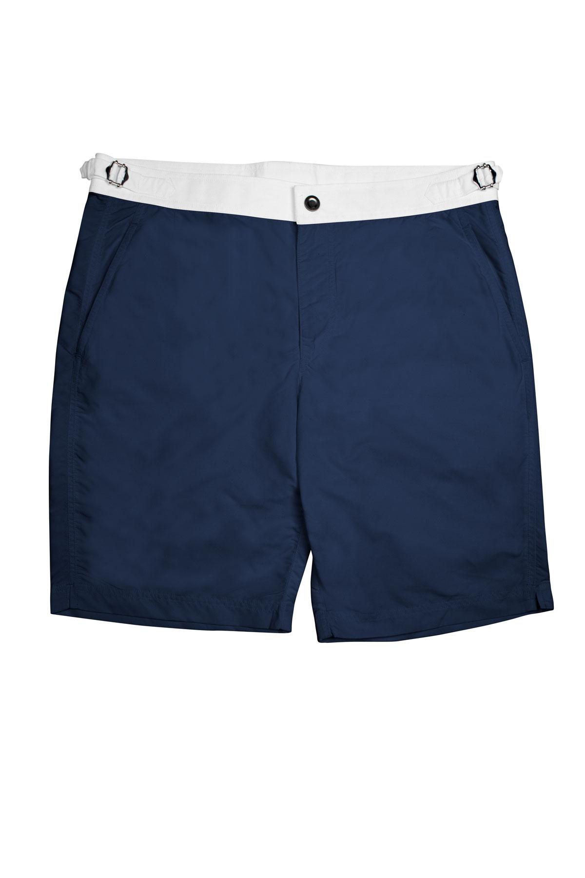 Navy Blue Swim Shorts w White Waistband