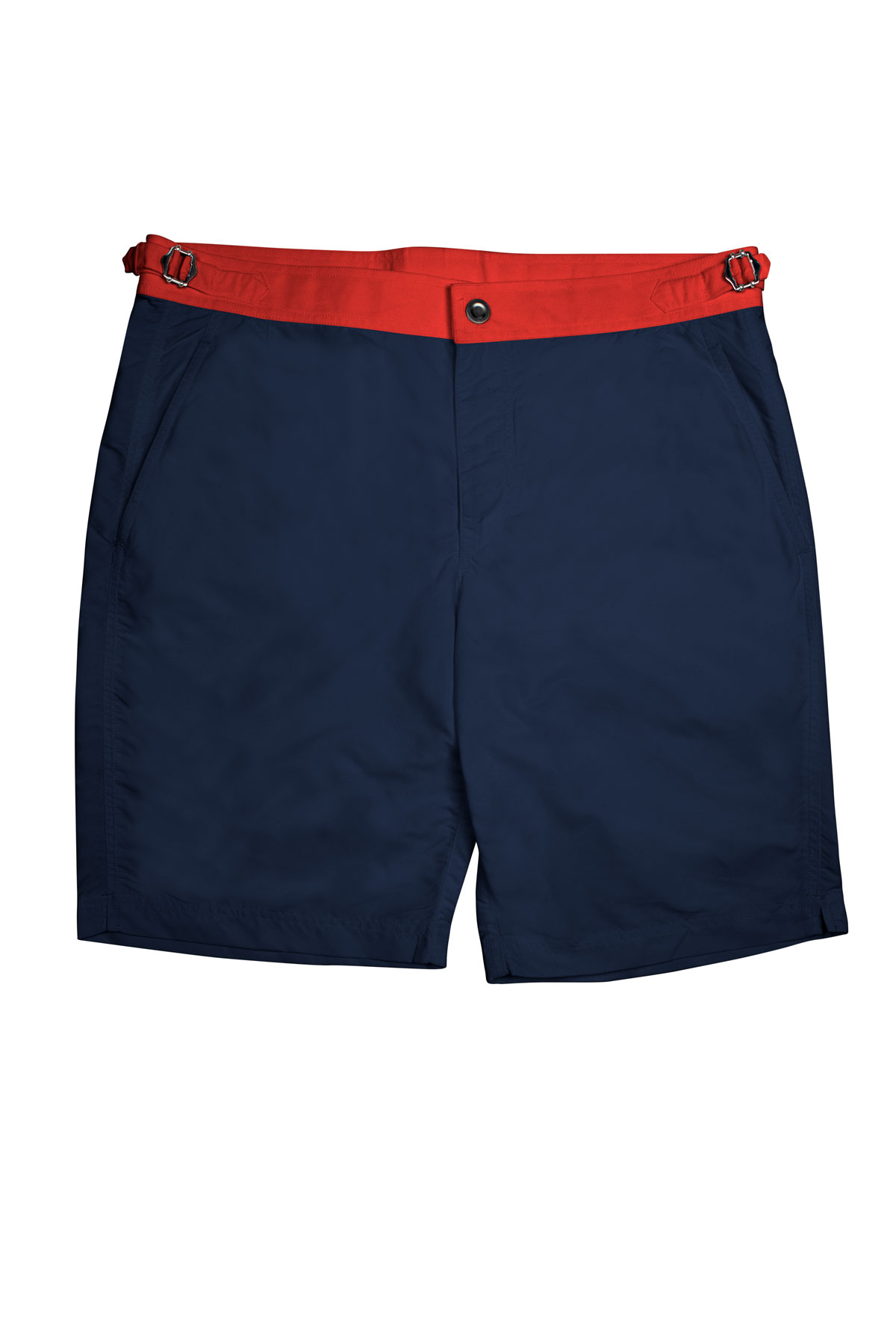 Navy Blue Swim Shorts w Red Waistband