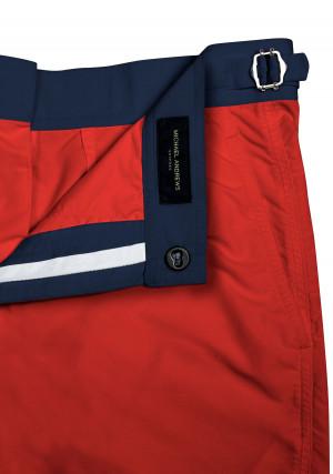 Red Swim Shorts w Navy Waistband