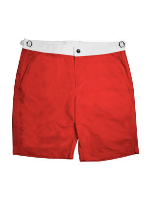 Red Swim Shorts w White Waistband