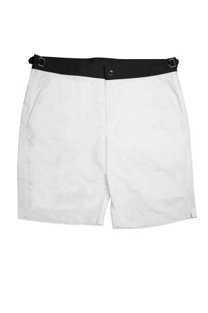 White Swim Shorts w Black Waistband