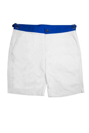 White Swim Shorts w Royal Blue Waistband