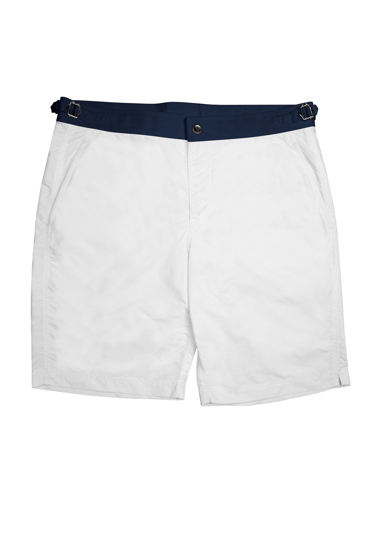 White Swim Shorts w Navy Waistband
