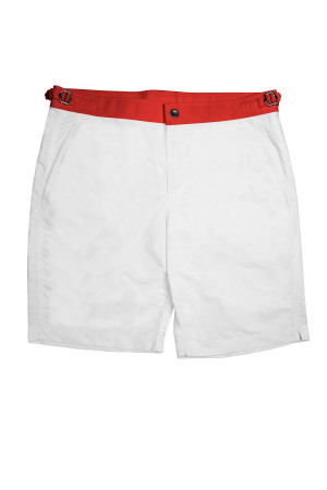 White Swim Shorts w Red Waistband