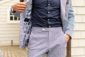 Navy/White Irregular Stripe Seersucker Suit