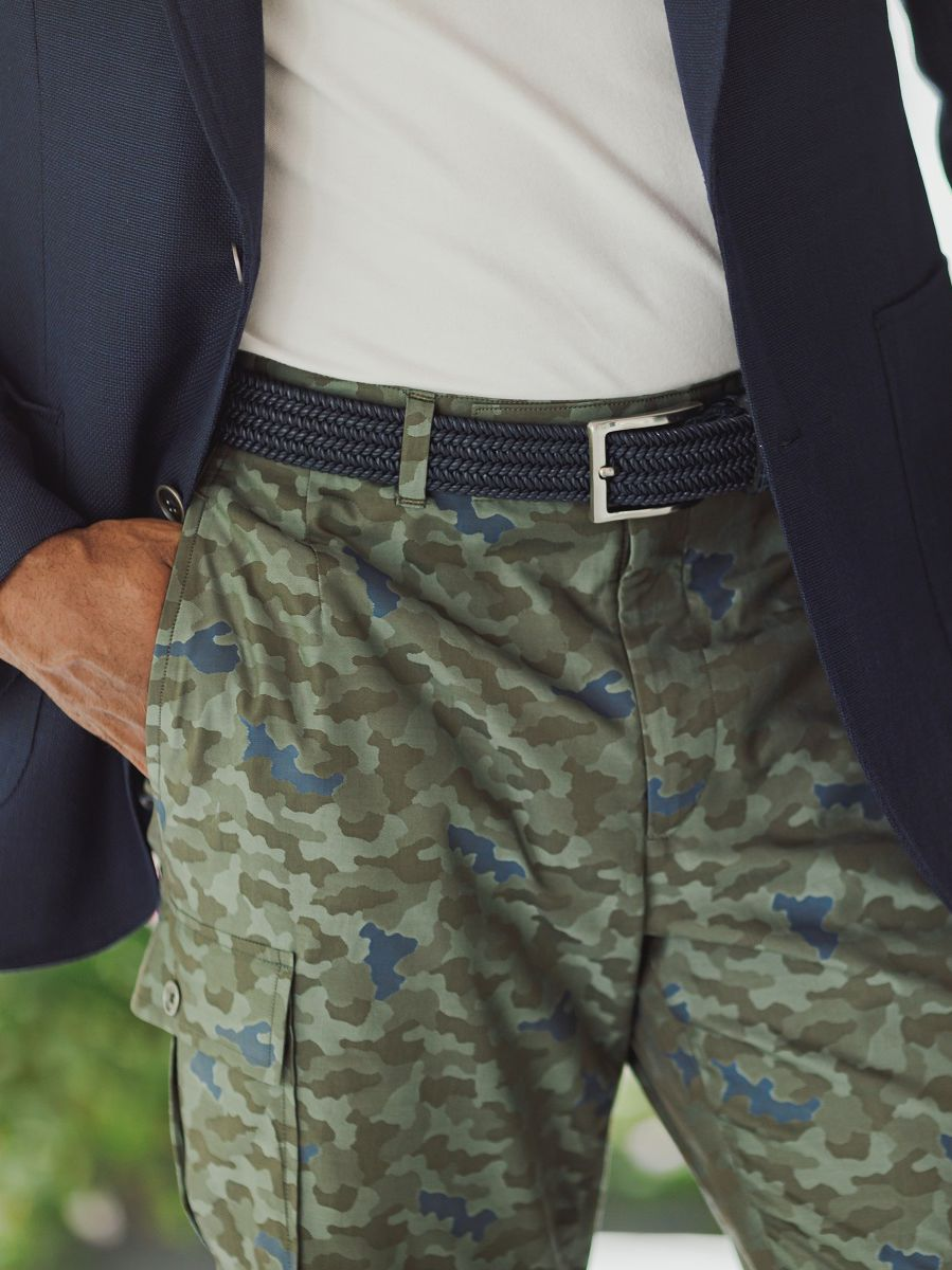 Navy Solid Stretch Belt with Crocodile Tabs