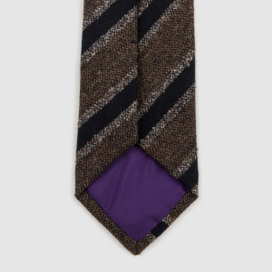 """Versatile Stripe"" Brown Wool Tie"